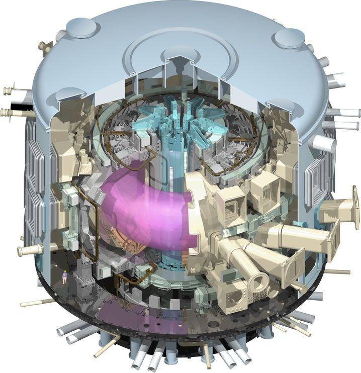 Iter-Reaktor mit Fusionsplasma: Anfang 2013 wurde das Kontroll- und Verwaltungszentrum in Betrieb genommen, bis zu den ersten Forschungsarbeiten dürften noch einige Jahre vergehen
