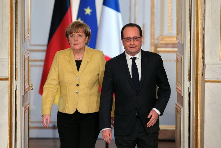 Kanzlerin Merkel, Präsident Hollande