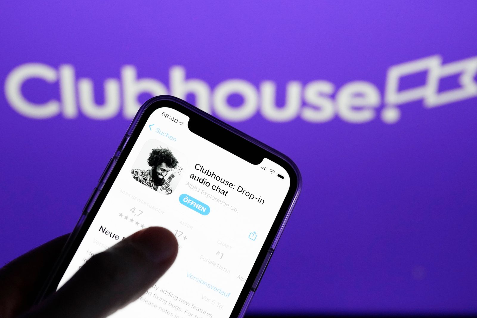 Symbolfoto Clubhouse Netzwerk und App Aktuell, Symbolbild und Logo der neuen App Clubhouse. Das soziale Netzwerk ist nun