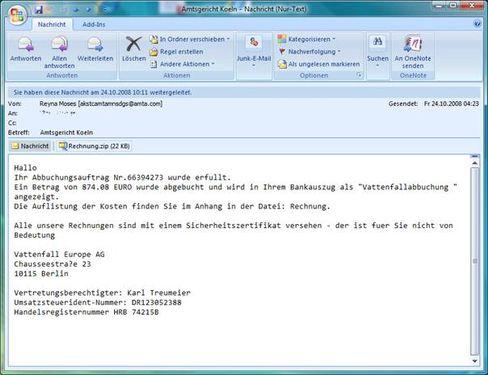 Trojaner-Mail: Wer auf den Trick mit dem Rechnungsanhang reinfällt, übergibt die Kontrolle über seinen PC an eine Schadsoftware