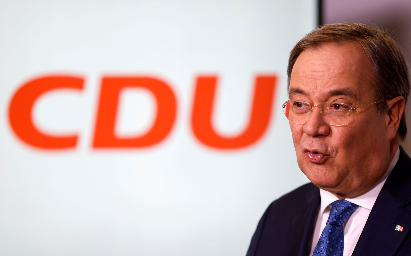 North Rhine-Westphalia's State Premier and new leader of the Christian Democratic Union (CDU) Armin Laschet speaks during a news conference at the CDU headquarters in Berlin