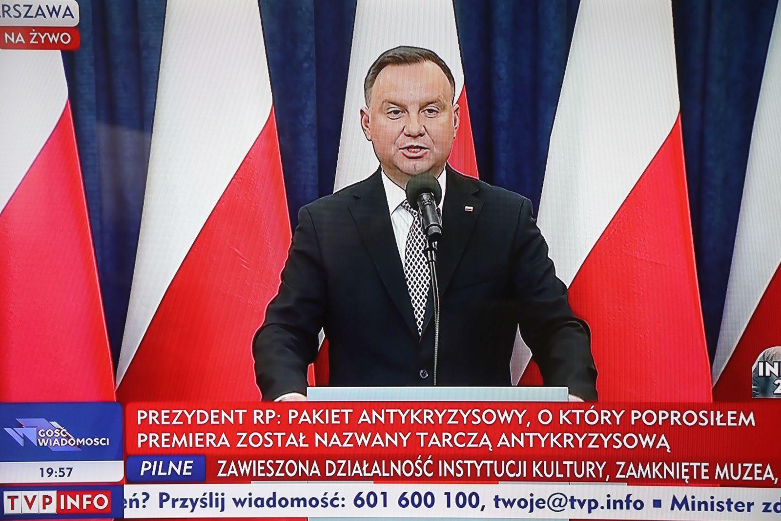 Polish President Duda holds press conference following coronavirus cabinet meeting, Warsaw, Poland - 18 Mar 2020