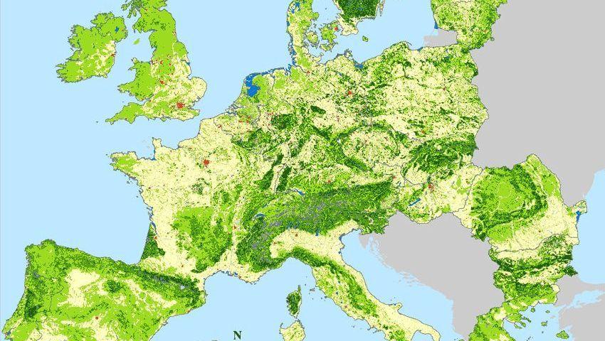 Landschaftsveränderungen in Europa seit 1900: Rot = Siedlungen / Hellgrün = Grasland / Beige = Agrarland / Dunkelgrün = Wald / Blau = Wasser / Grau = Anderes