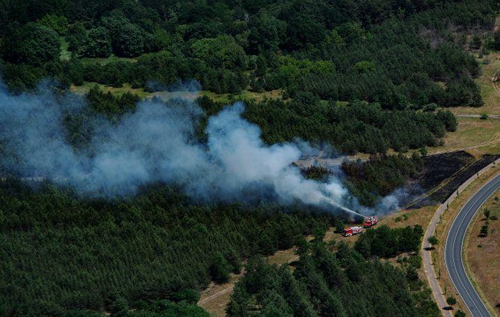 Feuerwehrleute bekämpfen in einem Waldstück bei Jüterbog (Brandenburg) einen Brand – einen weitaus größeren Waldbrand gab es aber bei Bötzow