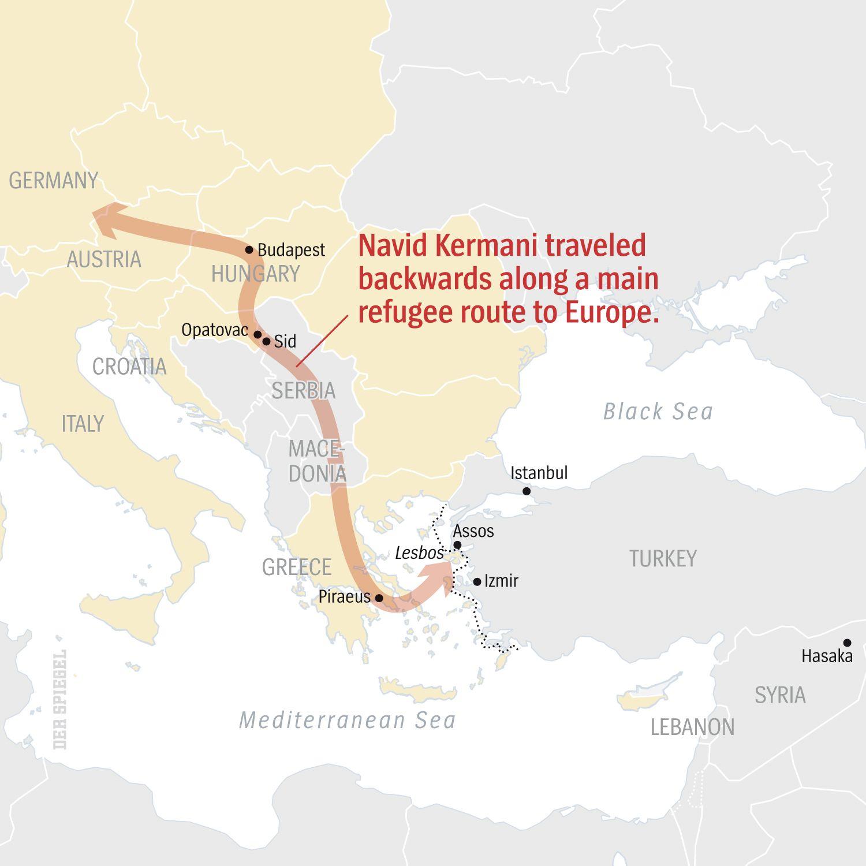 ENGLISH VERSION GRAFIK DER SPIEGEL 42/2015 Seite 58 - Navid Kermani traveled backwarsd along a main refugee route to Europe