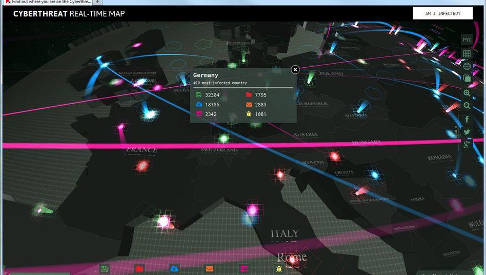 Cyberthreat Real-Time Map: Bösartige Software, schön visualisiert