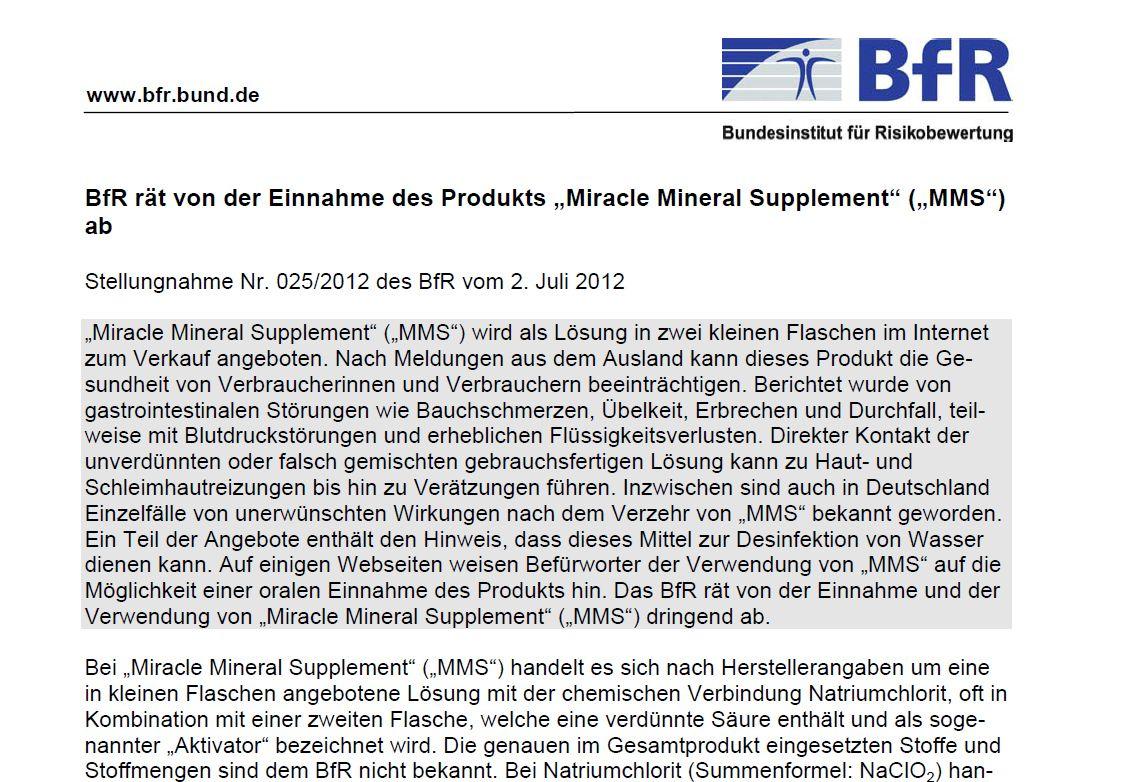 Screenshot BfR / Stellungnahme MMS