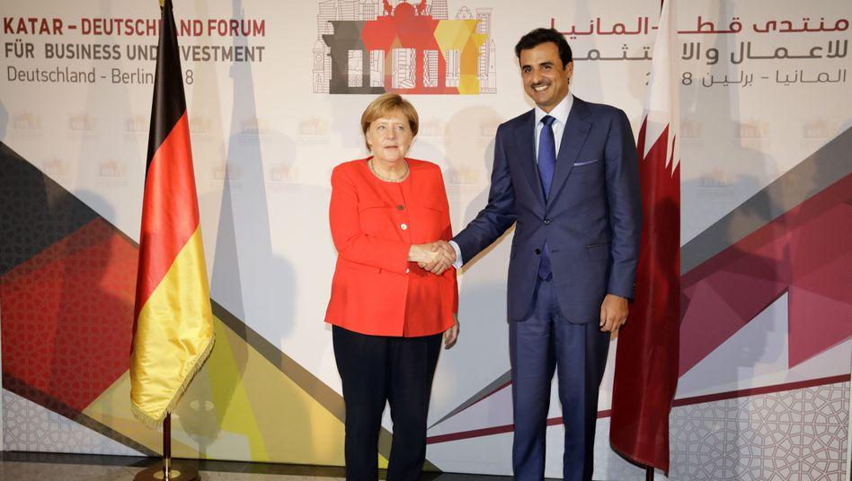 Angela Merkel mit Tamim bin Hamad al-Thani