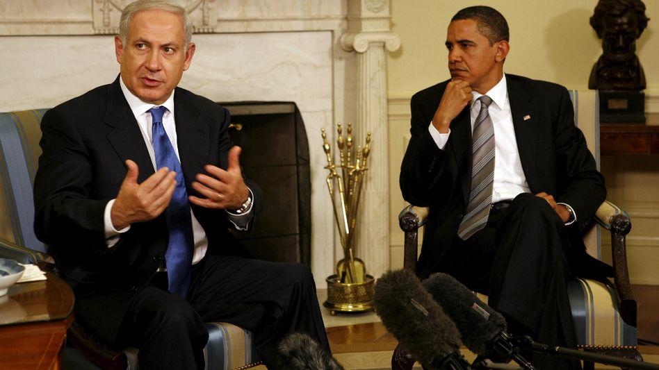 Netanjahu, Obama (im Weißen Haus): Schwere Bomben und ein Versprechen?