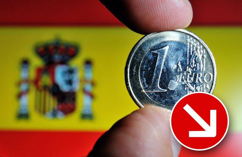Finanzkrise Spanien Symbol Pfeil runter