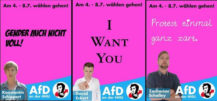 Wahlplakate der AfD-Liste Uni Düsseldorf