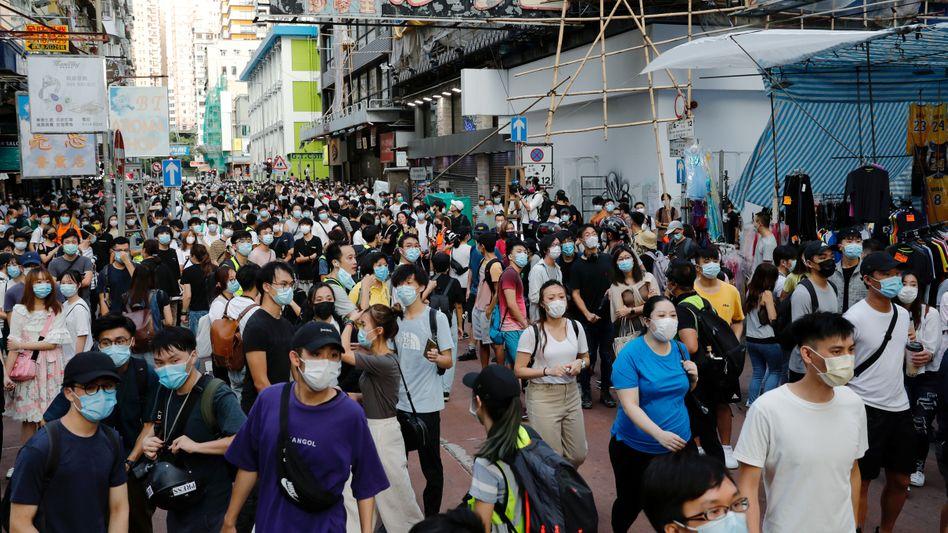 Anhänger der Demokratiebewegung in Hongkong protestierten am Sonntag für freie Wahlen