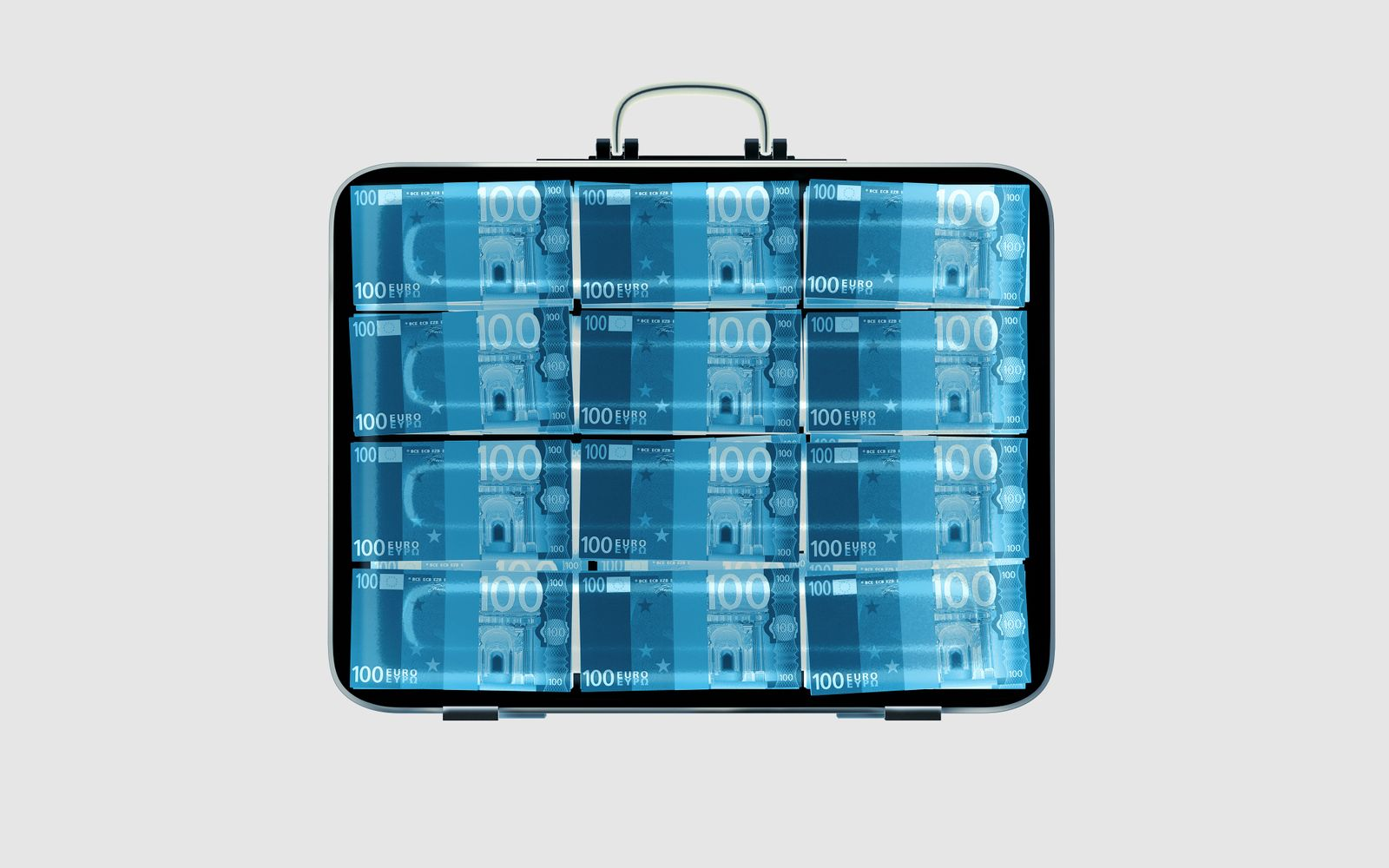 x-ray of Suitcase with Euro bills inside