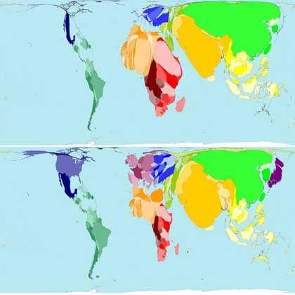 Anzahl der Menschen ohne Zugang zu sauberem Wasser (oben) und Kartogramm der Bevölkerungszahl der Länder der Welt (unten)