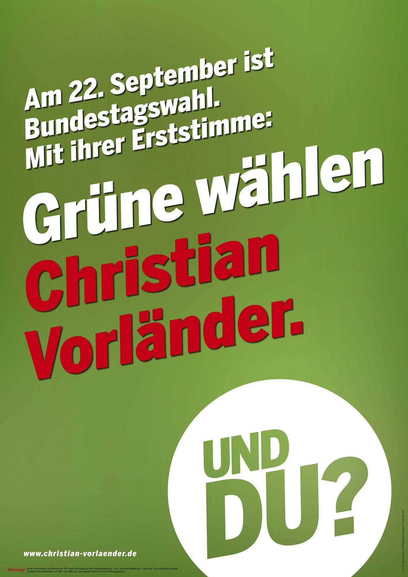 EINMALIGE VERWENDUNG SPD / PLAKAT / Christian VorlÄnder