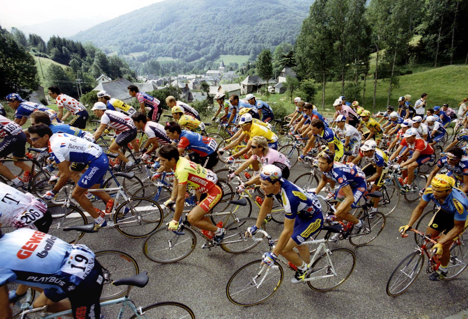 The pack of riders climbs the Col de Mente during the 206km 15th stage of the Tour de France cycling..