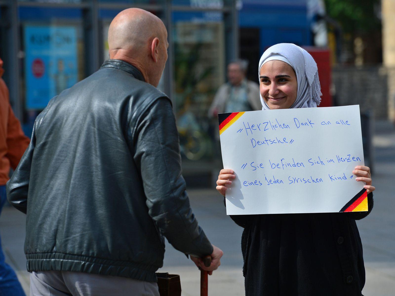 Danke-Aktion syrischer Flüchtlinge in Erfurt