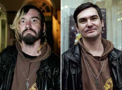 Henrico F. vor und nach seiner Rasur und dem Friseur-Besuch
