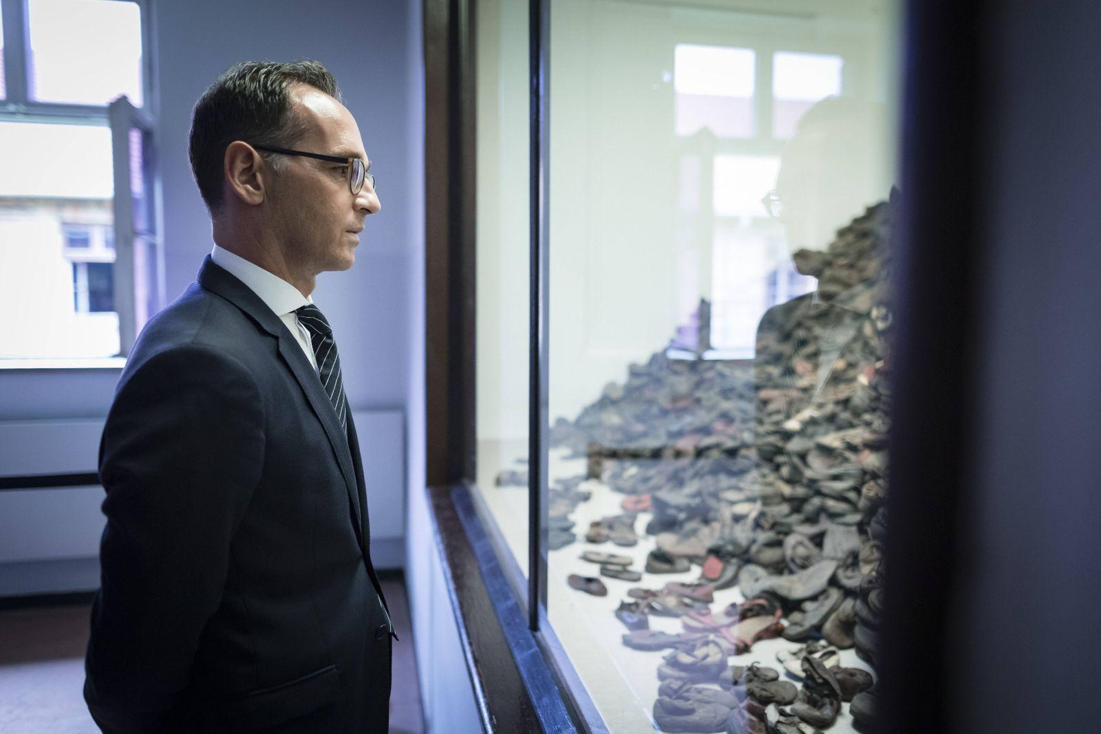 Bundesaussenminister Heiko Maas SPD besucht das ehemalige deutsche Konzentrations und Vernichtun