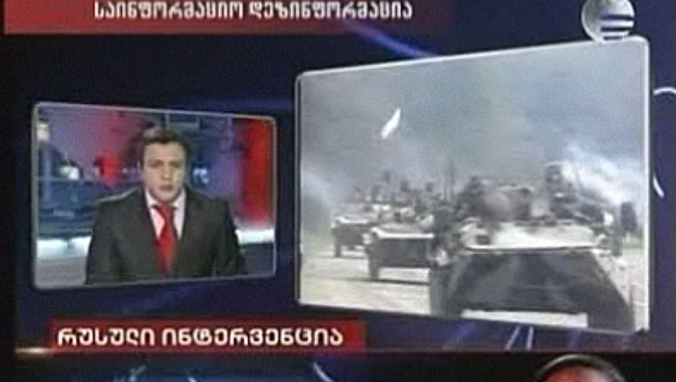 A screen shot of Georgian television station Imedia broadcasting fake footage of Russia preparing to invade Georgia.