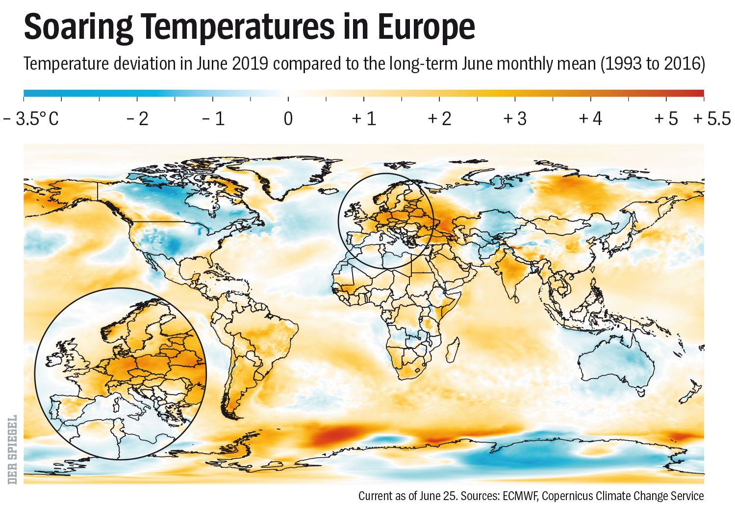 ENGLISH VERSION GRAPHIC DER SPIEGEL 27/2019 Seite 104 - Soaring Temperatures in Europe - Europa im Fieber