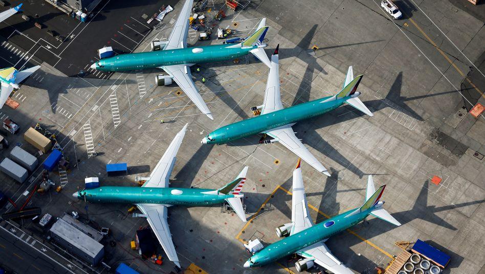 Maschinen vom Typ Boeing 737 Max in Renton, Washington