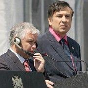 Georgian President Mikhail Saakashvili, right, and Polish President Lech Kaczynski at a joint news conference in Tbilisi, Georgia on Wednesday.
