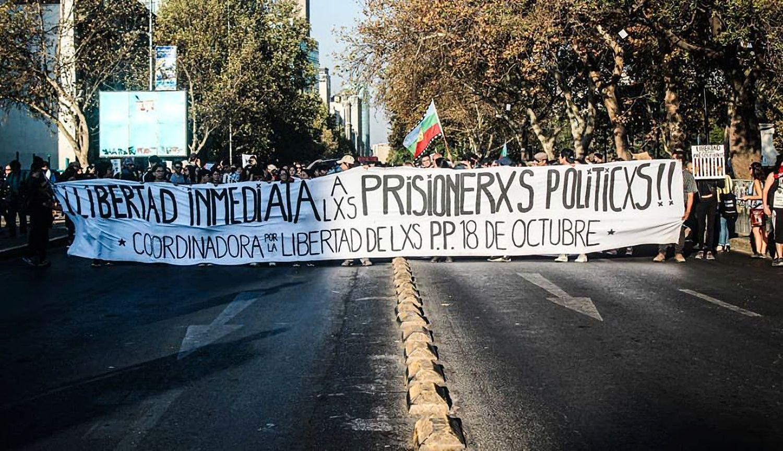 Protest der Unterstützer der Gefangenenhilfeorganisation Coordinadora 18 por la Libertad de los Prisioneros Politicos 18 de Octubre (Foto von der Organisation)