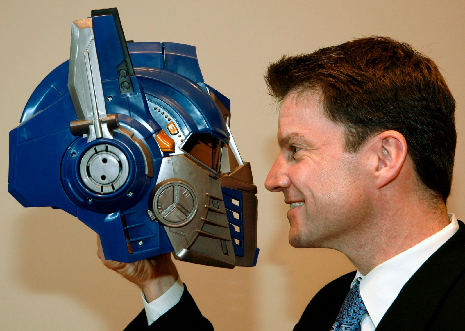 Hasbro Toys COO Goldner looks at new Transformers toy helmet in New York