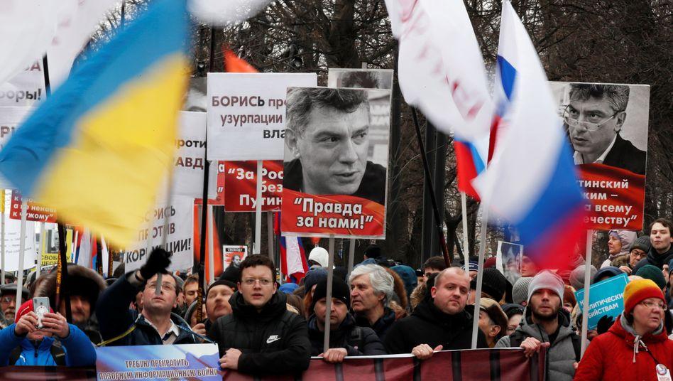 Demonstranten in Moskau: Erinnern an Boris Nemzow, der vor fünf Jahren vor dem Kreml erschossen wurde