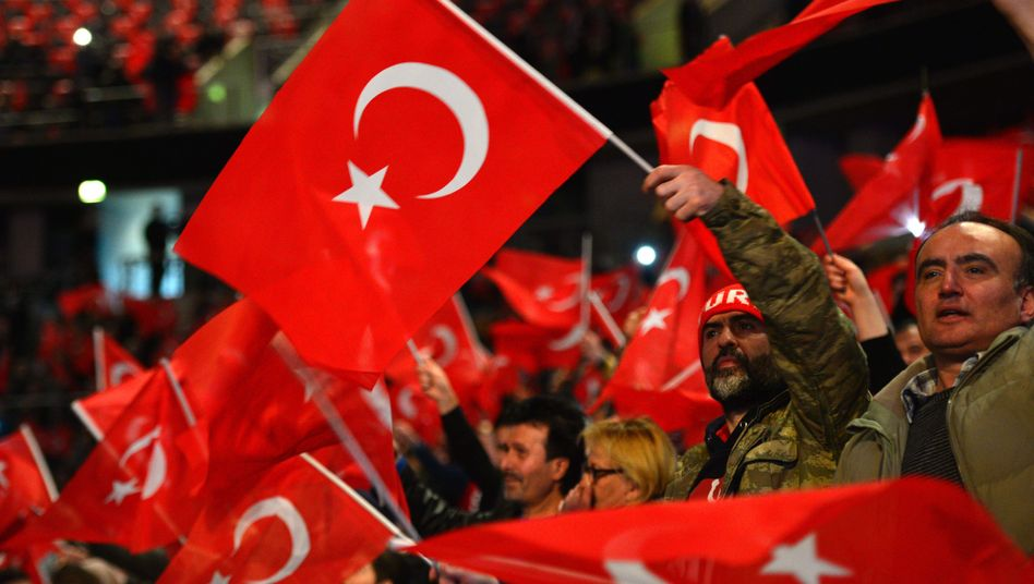 Erdogan supporters at a rally in Oberhausen, Germany