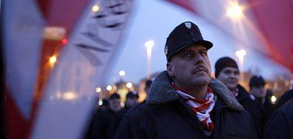 """Members of the far-right Hungarian Guard at a rally against """"Roma crime"""" in Budapest earlier this month."""