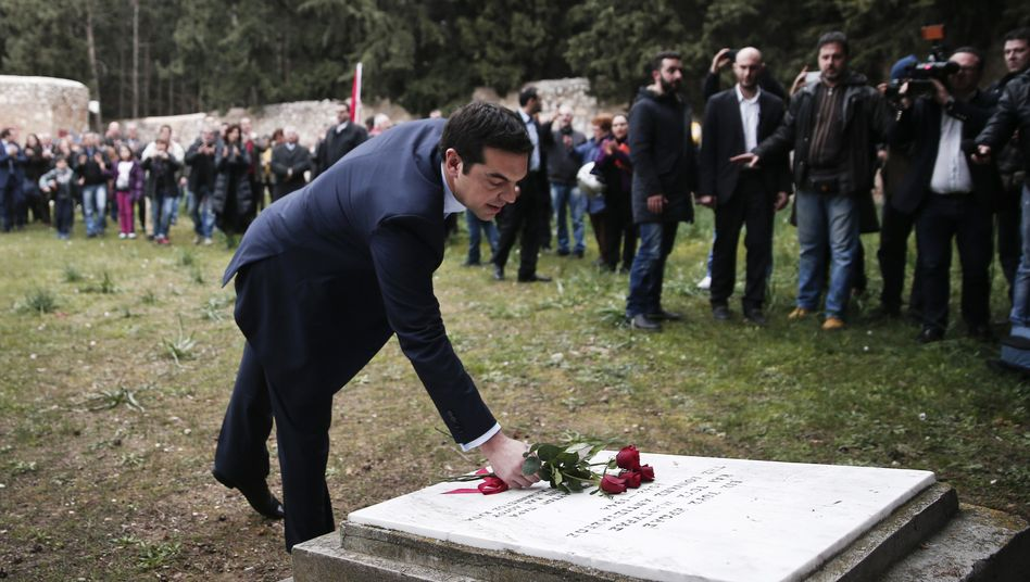 Immediately after his election in Janaury, Greek Prime Minister Alexis Tsipras laid flowers at a monument at the site in Athens where hundreds of members of the Greek resistance were shot and killed by the Nazis.
