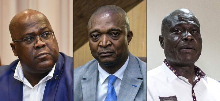 Von links: Tshisekedi, Shadary und Fayulu