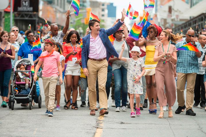Justin Trudeau mit Familie auf dem CSD in Toronto (2017): Diversität auf der Agenda