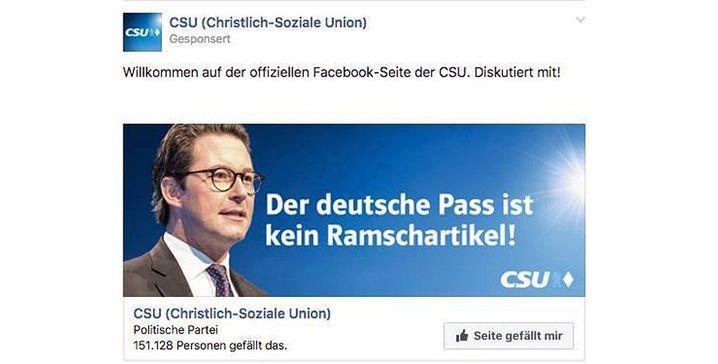 Älterer Scheuer-Werbung auf der Facebook-Seite der CSU