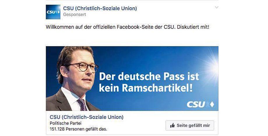 EINMALIGE VERWENDUNG CSU-Werbung für russischsprachige Wähler