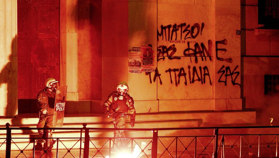 "A Feb. 12 protest in Athens: ""It was a grave mistake to bring all the south European states into the euro zone."""