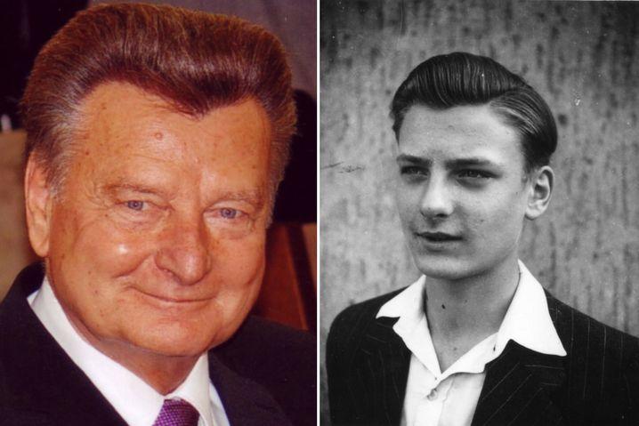 Links: Der ehemalige Kindersoldat Günter Dullni 2013. Rechts: Günter Dullni mit etwa 16 Jahren.