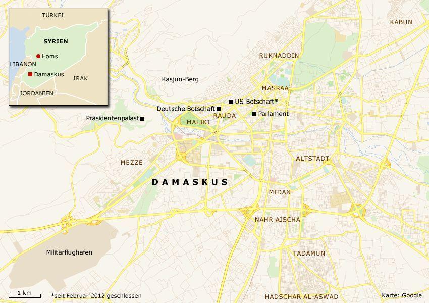 Karte Damaskus Syrien - Version 3