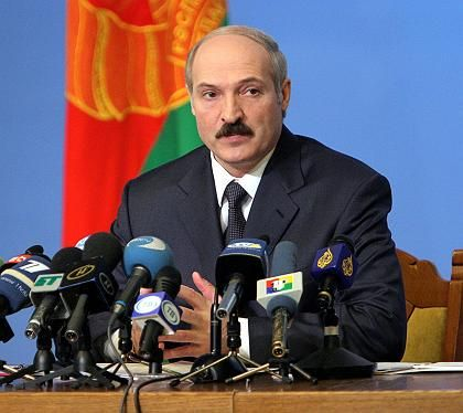 Triumphant election winner: Lukashenko attends a news conference in Minsk last week.