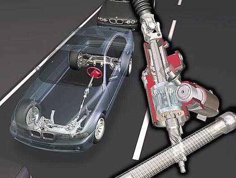 Die Aktiv-Lenkung von BMW: mit mechanischer Lenksäule, in die ein computergesteuerter Elektromotor eingreift
