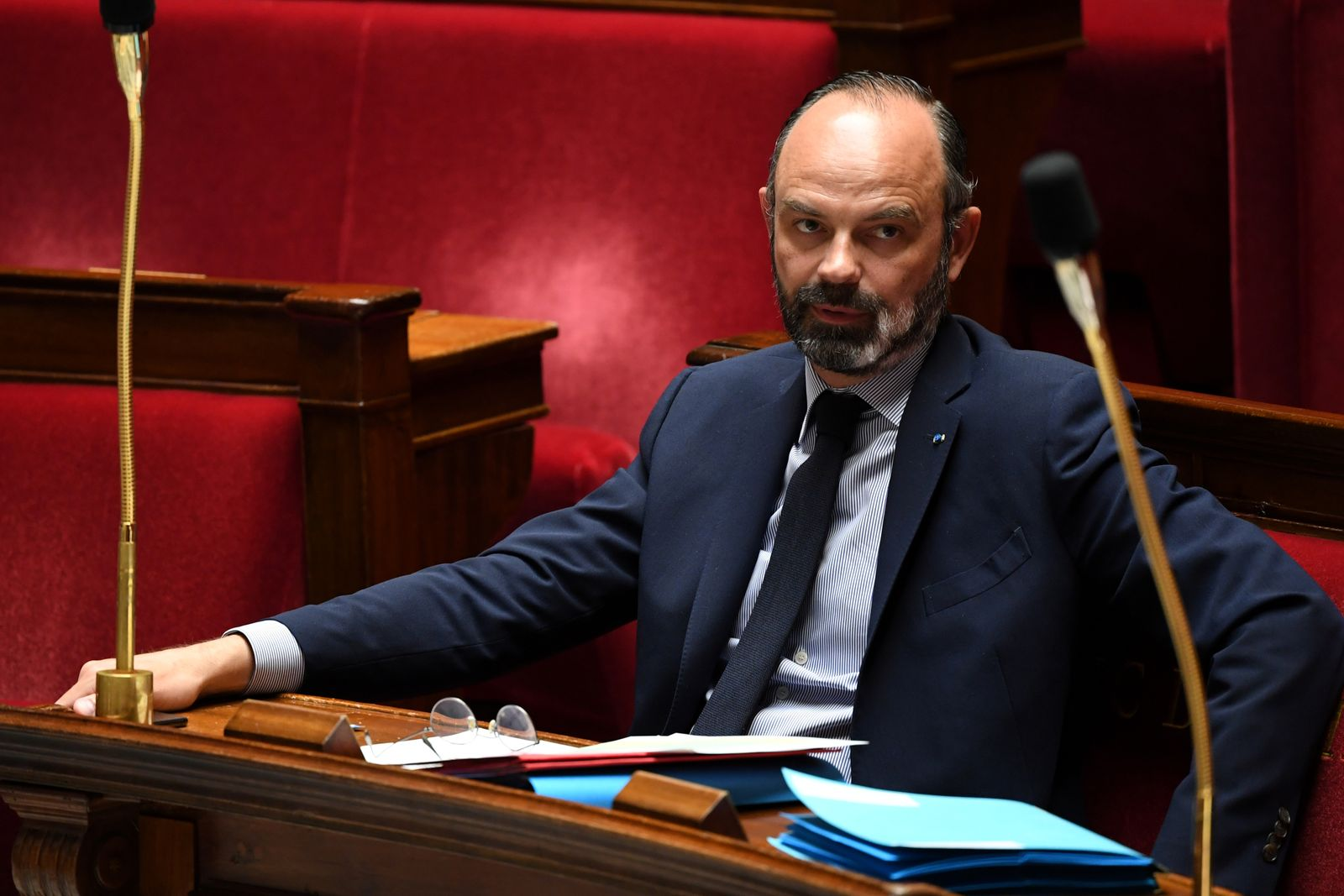 French PM Philippe looks on during NA session in Paris
