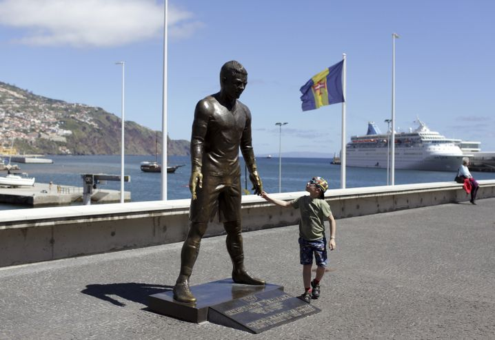 A statue of Ronaldo in Funchal, the capital of Madeira island, Portugal: absurdly exaggerated manhood