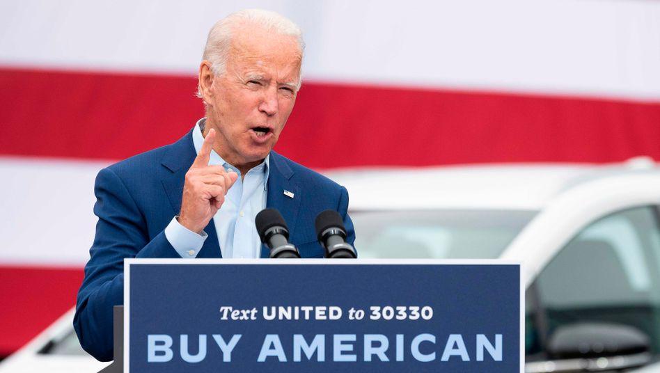 """Joe Biden am 9. September in Warren: """"Produziert in Michigan, produziert in Amerika, investiert in unsere Gemeinden und die Arbeiter in Orten wie Warren"""""""