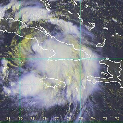 """Satellitenfoto: Tropensturm """"Fay"""" auf dem Weg nach Florida"""