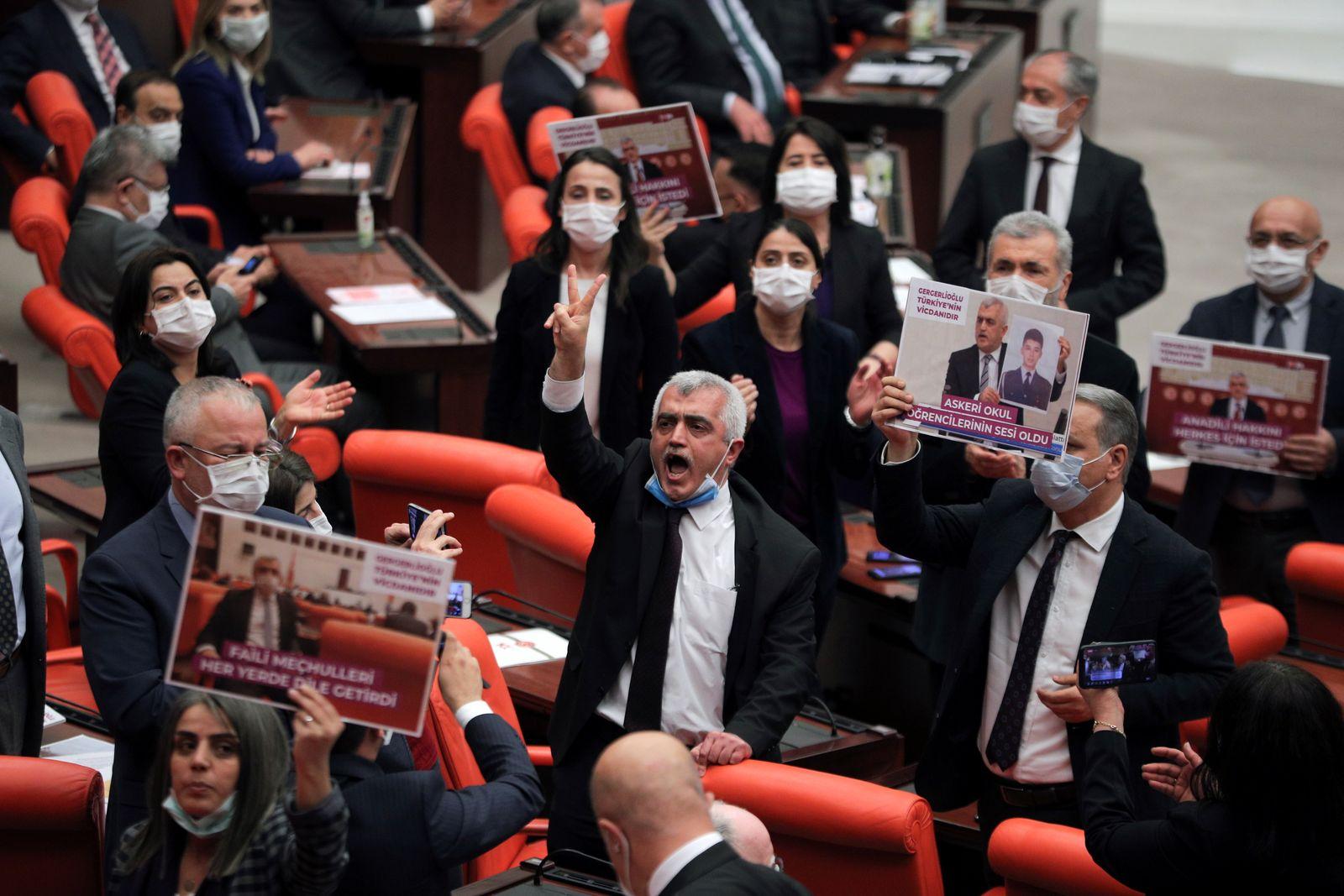 Pro-Kurdish HDP lawmaker Gergerlioglu is pictured at the parliament in Ankara