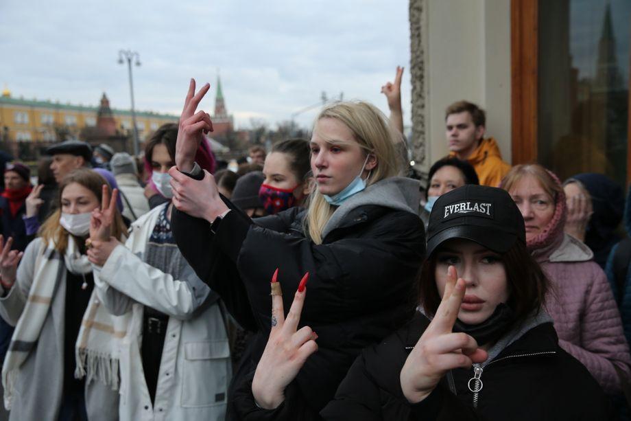 Demonstranten in Moskau vergangene Woche