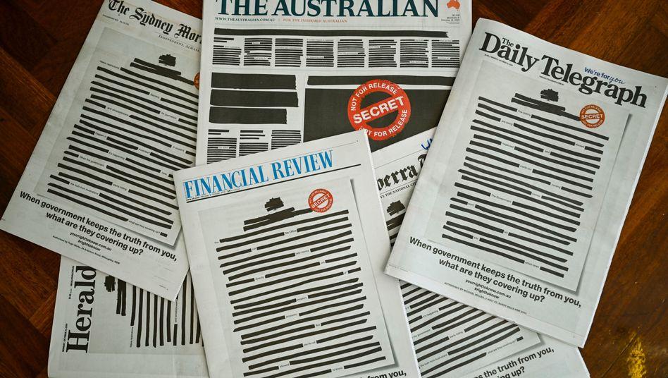 """Titelseiten australischer Zeitungen am Montag: """"Beispiellose Demonstration der Einheit zwischen Wettbewerbern"""""""