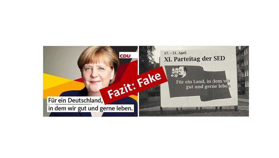 CDU-Plakat neben Bildmontage (für Vollbild auf das Bild klicken)